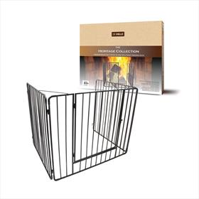 Heritage Premium Stove Guard With Gate - Black
